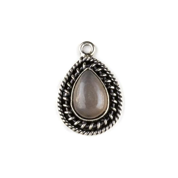 Silver Plated Brass Fancy Bezel Pendant - Mystic Swiss Chocolate Moonstone 16x24mm Teardrop Drop, style #05