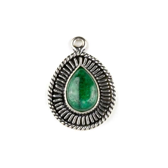 Silver Plated Brass Fancy Bezel Pendant - Emerald 18x26mm Teardrop Drop, style #06