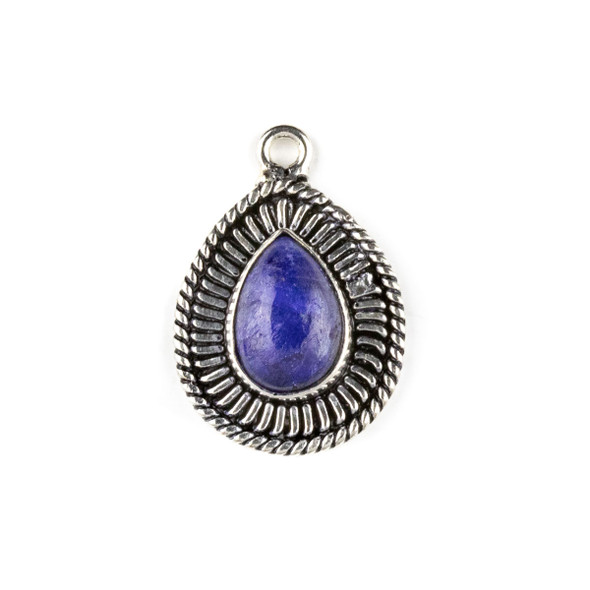 Silver Plated Brass Fancy Bezel Pendant - Sapphire 18x26mm Teardrop Drop, style #06