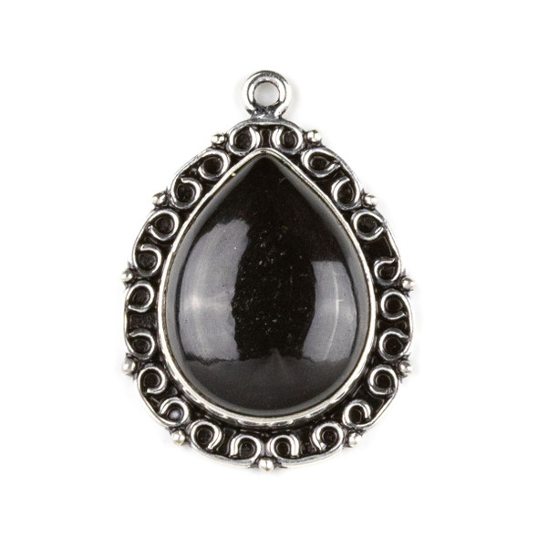 Silver Plated Brass Fancy Bezel Pendant - Onyx 26x35mm Teardrop Drop, style #07