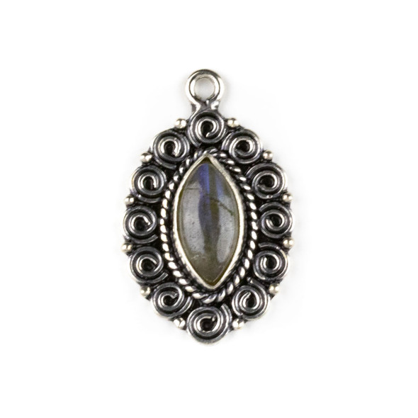 Silver Plated Brass Fancy Bezel Pendant - Labradorite 19x30mm Marquis Drop, style #08