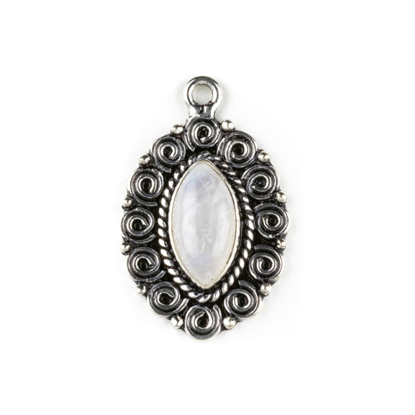 Silver Plated Brass Fancy Bezel Pendant - Moonstone 19x30mm Marquis Drop, style #08