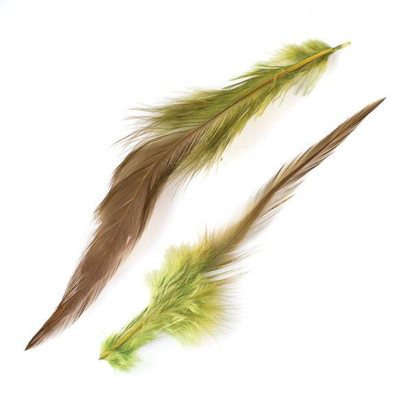Green and Brown Feathers, 6 inches, 2 per bag - #1-5