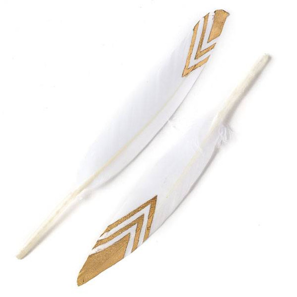 White Feathers with Gold Chevron Tips, 6 inches, 2 per bag - #3-2