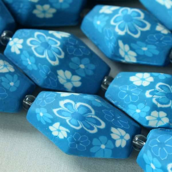 Fimo 20x29mm Blue Faceted Hexagon with White Flowers