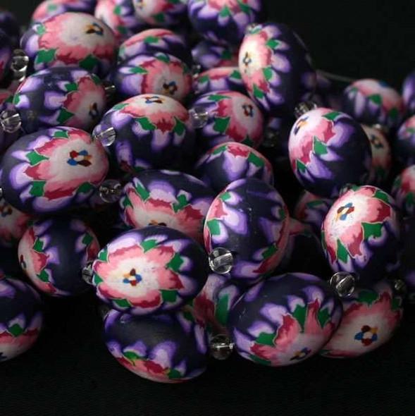 Fimo Bead Pink Flowers on Purple 15x20mm Oval