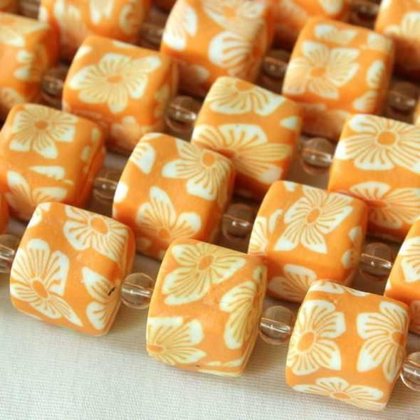 Fimo 11x12mm Butterscotch Square Tube with Cream Flowers
