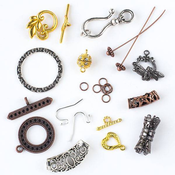 A Bulk Mix of 50 assorted bags of Vintage Copper, Gold, and Silver Colored Pewter Findings
