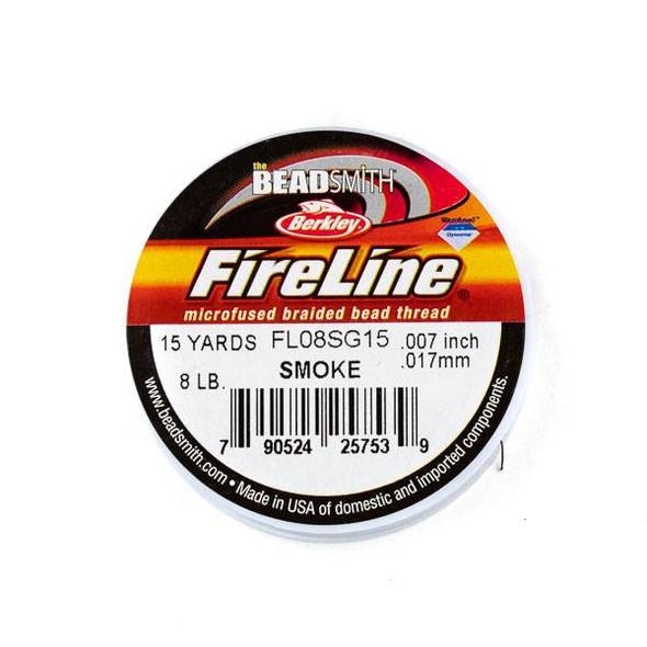 FireLine Microfused Braided Beading Thread - 8 LB (.017mm dia.), Smoke, 15 yard spool