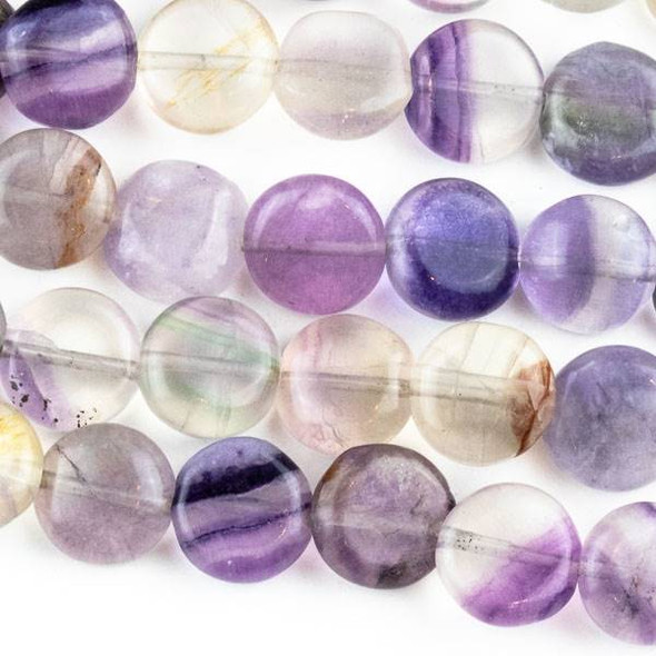 Fluorite  10mm Coin Beads - approx. 8 inch strand, Set A