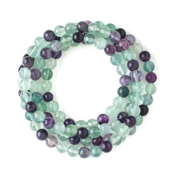 Rainbow Fluorite 8mm Mala Round Beads - 36 inch strand