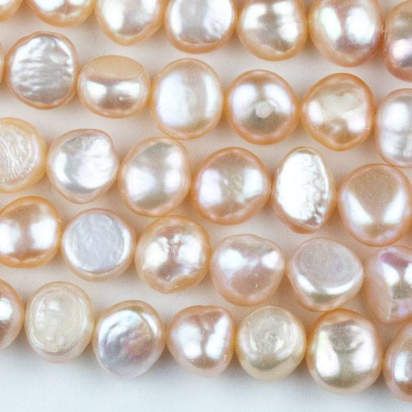 Fresh Water Pearl 9-10mm Peach Nugget Beads - 13.5 inch strand