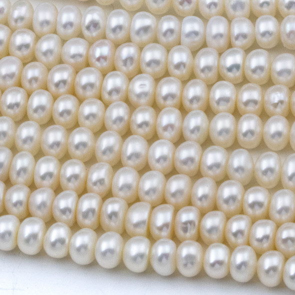 Fresh Water Pearl 4x6mm White Rondelle Beads - 16 inch strand