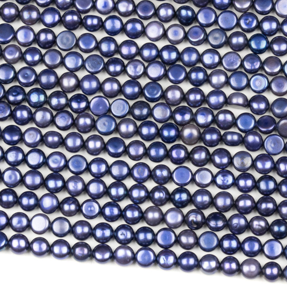 Fresh Water Pearl 6mm Blueberry Button Beads - 16 inch strand
