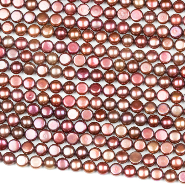 Fresh Water Pearl 6mm Bugundy Button Beads - 16 inch strand