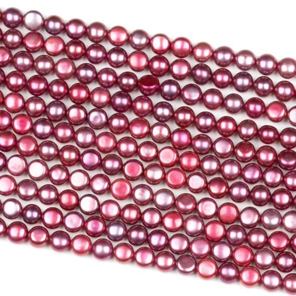Fresh Water Pearl 6mm Hot Pink Button Beads - 16 inch strand