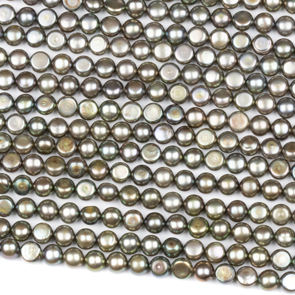 Fresh Water Pearl 6mm Sage Green Button Beads - 16 inch strand