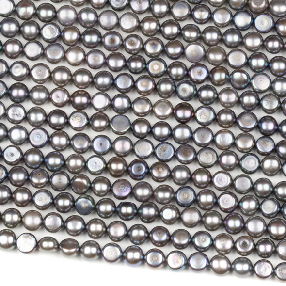 Fresh Water Pearl 6mm Silver Peacock Button Beads - 16 inch strand