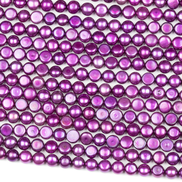Fresh Water Pearl 6mm Violet Purple Button Beads - 16 inch strand