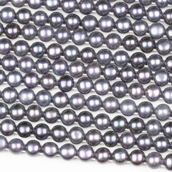 Fresh Water Pearl 8mm Silver Grey Double Drilled Button Beads - 16 inch strand