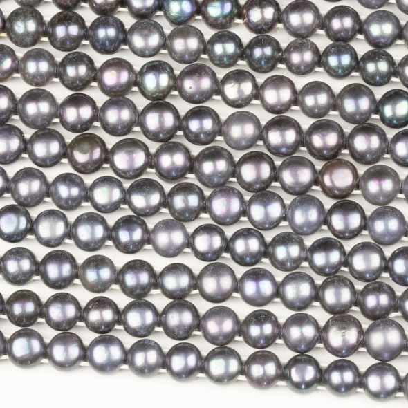Fresh Water Pearl 8mm Silver Peacock Double Drilled Button Beads - 16 inch strand