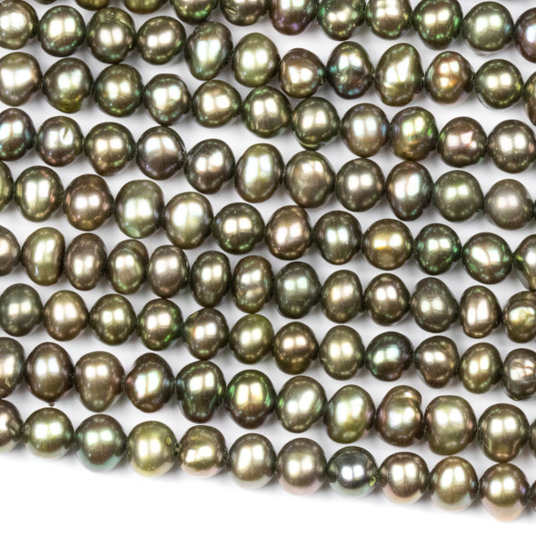 Fresh Water Pearl 4-5mm Olive Green Potato Beads - 16 inch strand
