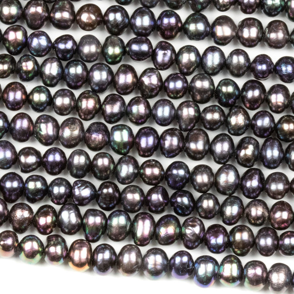 Fresh Water Pearl 4-5mm Purple Peacock Potato Beads - 16 inch strand