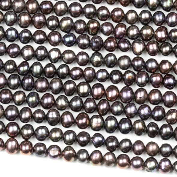 Fresh Water Pearl 4mm Peacock Potato Beads - 16 inch strand
