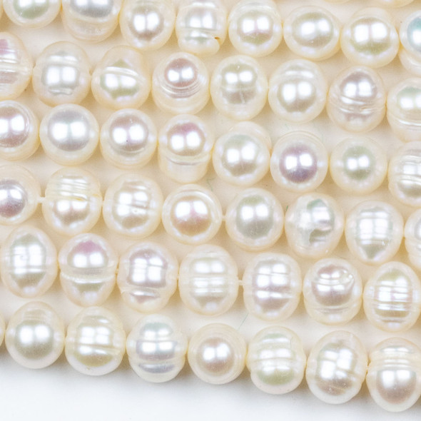 Fresh Water Pearl 7-8mm White Potato Beads - approx. 14 inch strand
