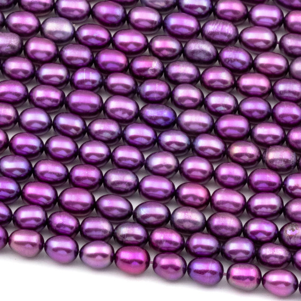 Fresh Water Pearl 5x6mm Violet Purple Rice Beads - 16 inch strand