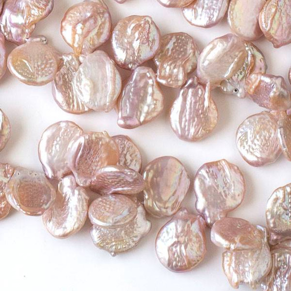 Fresh Water Biwa Pearl approximately 16x22mm Peach Pink Top Drilled Beads - 16 inch strand