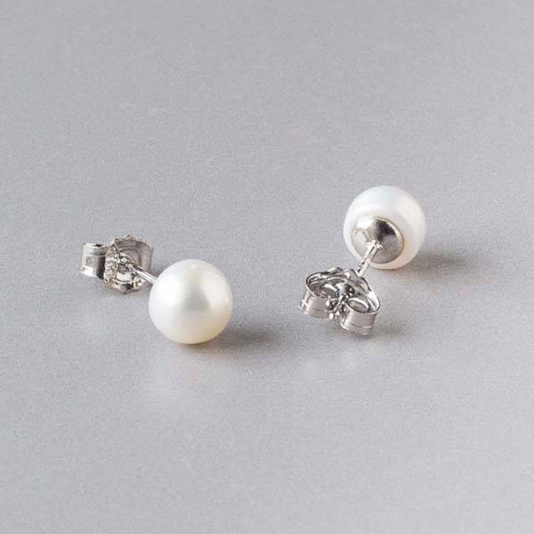 Fresh Water Pearl White 6-7mm Potato Sterling Silver Stud Earrings in a Blue Gift Box