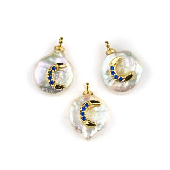 Fresh Water Pearl 11-13mm White Coin Pendant with Gold Plated Brass Bail and Dark Blue Cubic Zirconia Pave Crescent  Moon -  1 per bag