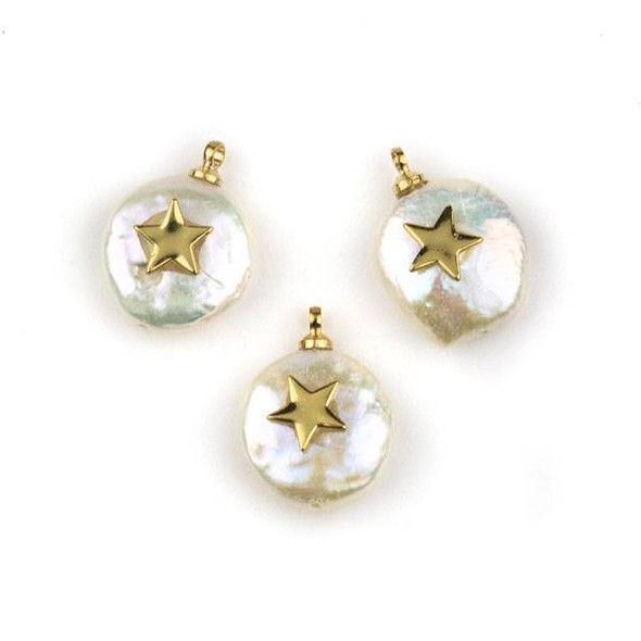 Fresh Water Pearl 11-13mm White Coin Pendant with Gold Plated Brass Bail and Star -  1 per bag