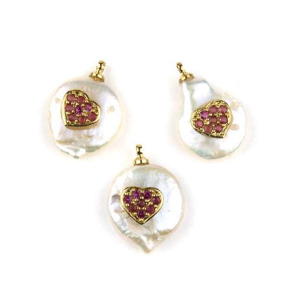 Fresh Water Pearl 11-13mm White Coin Pendant with Gold Plated Brass Bail and Pink Cubic Zirconia Pave Heart -  1 per bag