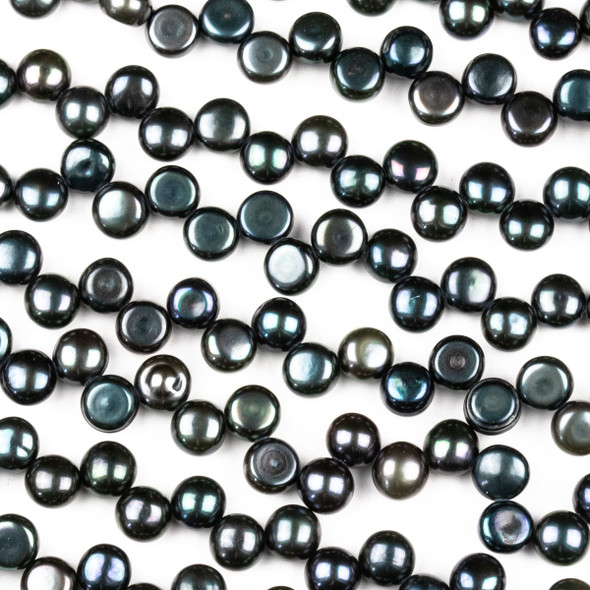 Fresh Water Pearl 6mm Dark Green Peacock Top Drilled Dancing Button Beads - 15.5 inch strand