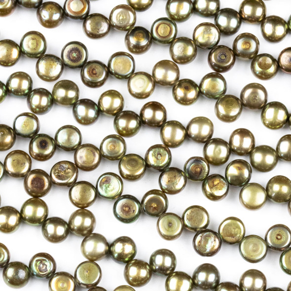 Fresh Water Pearl 6mm Olive Green Top Drilled Dancing Button Beads - 15.5 inch strand