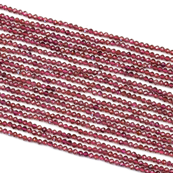Garnet 2.5mm Microfaceted Round Beads - 15 inch strand