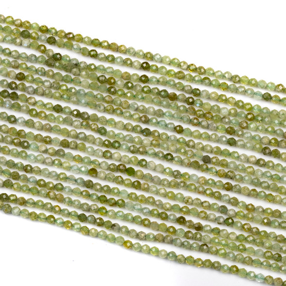 Green Garnet 2mm Faceted Round Beads - 15 inch strand