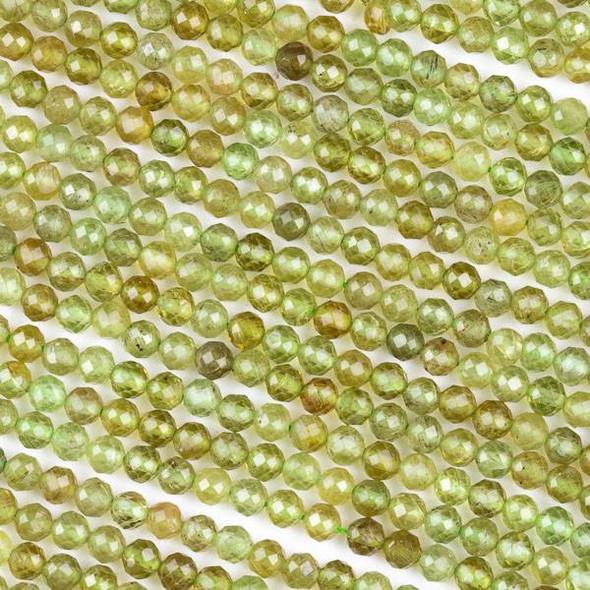 Green Garnet (Natural Gemstone) 4mm Faceted Round Beads - 15 inch strand