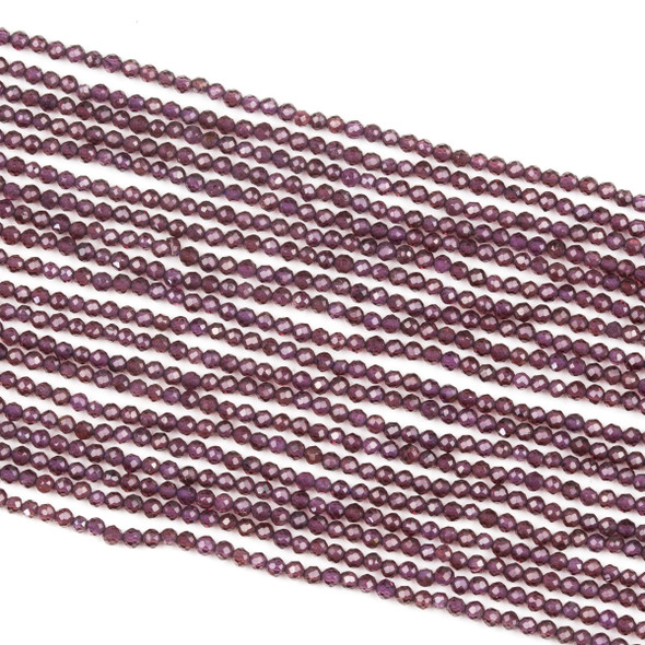 Purple Garnet 2mm Faceted Round Beads - 15 inch strand