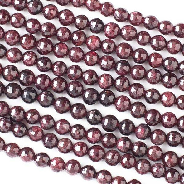 Garnet 5mm Faceted Round Beads - 16 inch strand