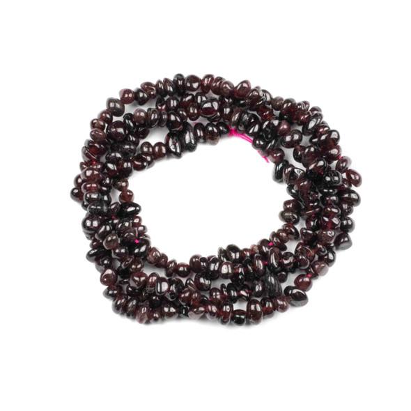 "Garnet 5-8mm Chip Beads - 34"" circular strand"