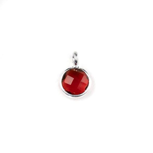Garnet Red Glass 7x10mm Coin Drop with a Silver Plated Brass Bezel - 1 per bag
