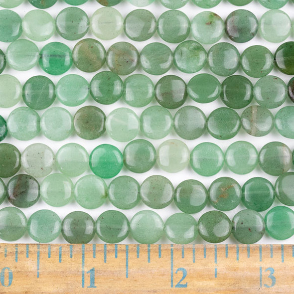 Green Aventurine 10mm Coin Beads - approx. 8 inch strand, Set A