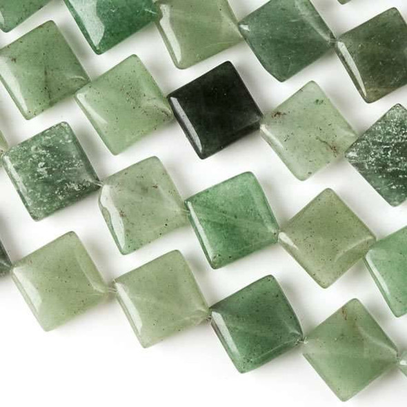 Green Aventurine 10mm Diagonal Drilled Square Beads - approx. 8 inch strand, Set A