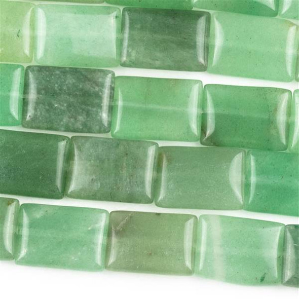 Green Aventurine 10x14mm Rectangle Beads - approx. 8 inch strand, Set A