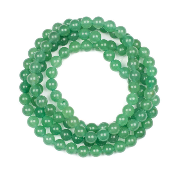 Green Aventurine 8mm Mala Round Beads - 36 inch strand
