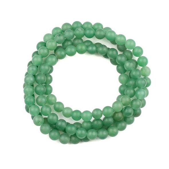 Matte Green Aventurine 8mm Mala Round Beads - 36 inch strand
