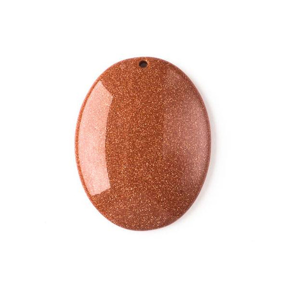 Goldstone 35x45mm Top Front to Back Drilled Oval Pendant with a Flat Back - 1 per bag